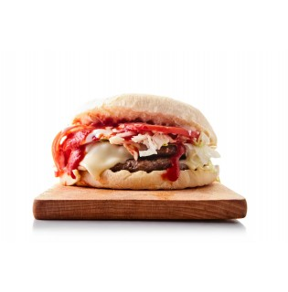 POLDO - Panino con hamburger, lattuga, pomodoro, sottiletta, ketchup, maionese